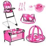 Bayer Design 61749AB Puppen Set 9 in 1 mit Reisebett, Tasche, Spielbogen, Hochstuhl, Plastik Geschirr, Puppenzubehör, rosa pink sterne