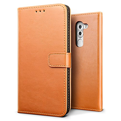 SLEO Huawei Honor 6X/Huawei Honor 6 Plus Hülle, Retro PU Lederhülle Wallet Deckel mit Kartensteckplätze Tasche für Huawei Honor 6X/Huawei Honor 6 Plus - Braun