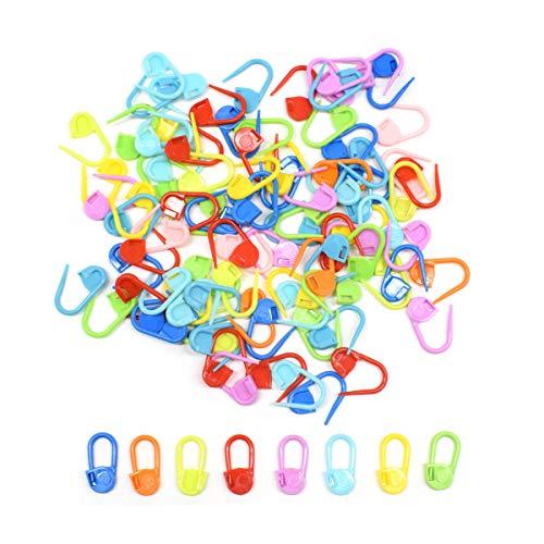 Biluer 600PCS Maschenmarkiere Häkeln Nadel Sicherheitsnadeln Plastic mit Nadelkappen zum Zählen von Maschen beim Stricken und Häkeln für Stricken Basteln und DIY Groß & Klein in 23mm (bunt) -