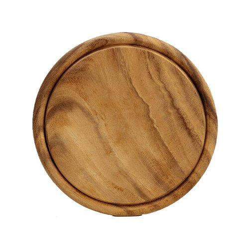 Kesper Fleischteller, Holzteller, Servierteller, aus Hartholz, Höhe: 15 mm, Durchmesser: 250 mm