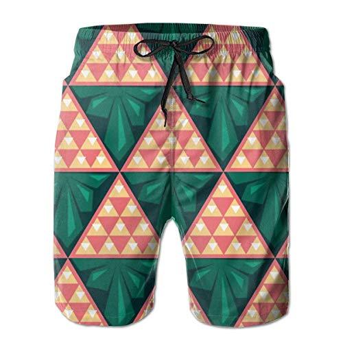 DPASIi Men's Swim Trunks Abstract Triangles Color Seamless Pattern Surfing Beach Board Shorts Swimwear Medium -