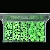 OriGlam 100pcs plastica morbida bagliore luminoso a pescare perle di plastica di forma ovale perle rotonde perle esche, verde mare perla pesca fluttuano strumenti uova