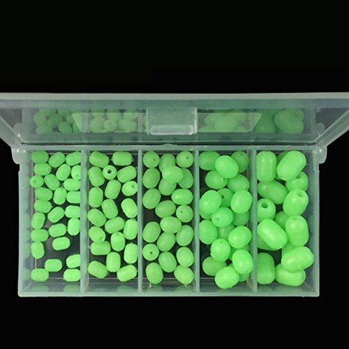【 Mejor Deals para Navidad 】 OriGlam 100piezas de plástico blando Luminous Glow Cuentas Pesca, cuentas redondas de perlas de plástico, forma ovalada Pesca Señuelos, verde mar pesca Bead flotante de aparejos de pesca herramientas huevos