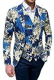 Evoga giacca con gilet uomo blu floreale slim fit elegante in cotone (s)