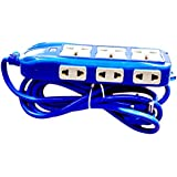 YDV Extension Board 10 To 16 Amp 3 Sockets (3 Pin) In Top, 6 Sockets (2 Pin) On Both Side With Master Switch, LED Indicator, Extension Cord (2 Meter) - Blue. Best Tool For Home Improvement