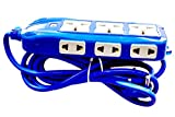#6: YDV Extension Board 16 Amp 3 Sockets (3 Pin) in Top, 6 Sockets (2 Pin) on Both Side with Master Switch, LED Indicator, Extension Cord (2 Meter) - Blue. best tool for home improvement