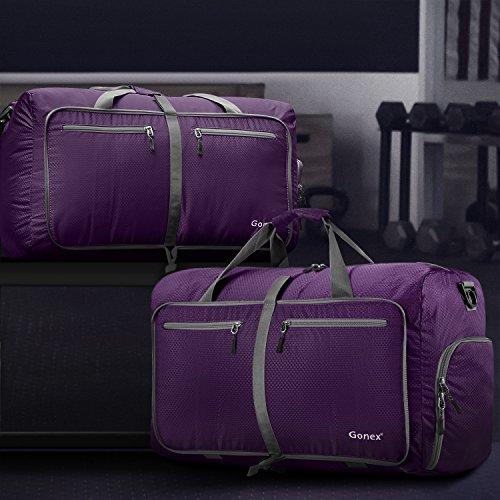Gonex Leichter Faltbare Reise-Gepäck 60L & 80L & 100L Duffel Taschen Übernachtung Taschen/ Sporttasche für Reisen Sport Gym Urlaub Purpur