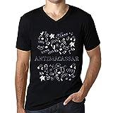 Homme T Shirt Graphique Imprimé Vintage Col V Tee Doodle Art Antimacassar Noir Profond Texte Blanc