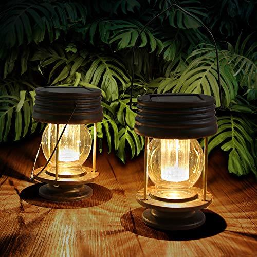 Lanterna Solare Esterno - Luci Solari da Appendere - 2 Pezzi di Lanterne Solari da Giardino Vintage LED Utilizzate per Decorare il Giardino,Cortile,Tabelle,Alberi(2 Pezzi, Warm Light)