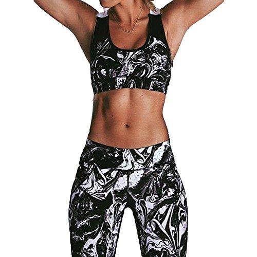 Hibote Femmes 2 Pcs / Set Survêtement Haute Élasticité Sportswear Ensemble Halter Sport Soutien-Gorge + Pantalon Fitness Costumes Pour Yoga, Running, Jogging, Gym Et Autres Activités Noir