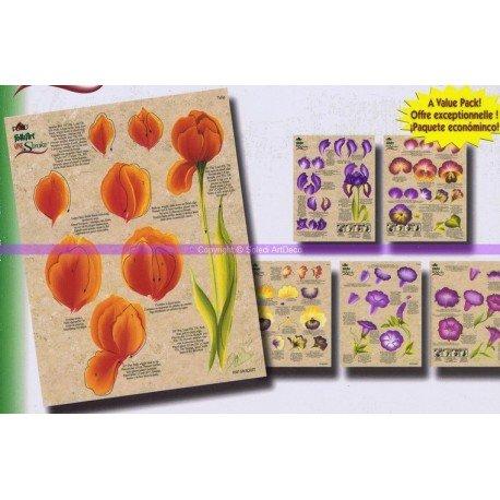 Grundlage One Stroke Technik mit Blumenmuster, Set mit 3 Blatt, wiederverwendbar