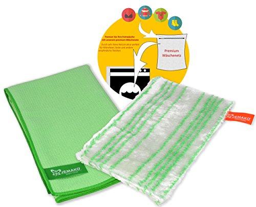 JEMAKO Spühltuch Visco-Line grün Trockentuch grün mittel 45 x 60 cm plus feinmaschige Wäschenetz 40x50 cm