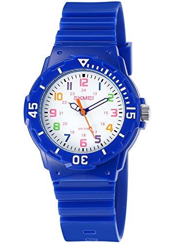 INWET Kinderuhren Wasserdichte Sport Quarz Armbanduhr für Jungen und Mädchen Blau