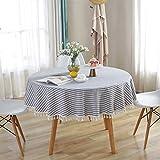 Meiosuns Runde Tischdecke Gestreifte Tischdecken Fringe Tischläufer Einfache und Elegante Heimtextilien für den Innen- und Außenbereich (Durchmesser 150 cm, Blaue/weiße Streifen) - 2