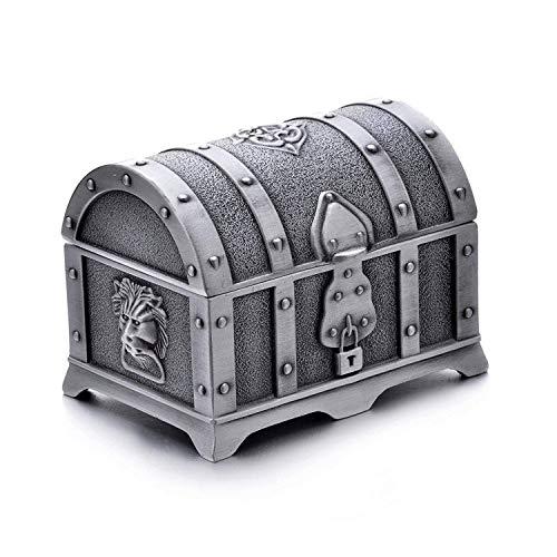 Rechteck Vintage Metall Schatztruhe Schmuckstück Schmuckschatulle Geschenkbox Ring Fall für Mädchen Damen, kleine, alte Zinn Farbe