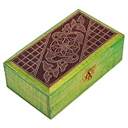 Hashcart Wooden Jewelry Box With Inlay Brass Wire Work
