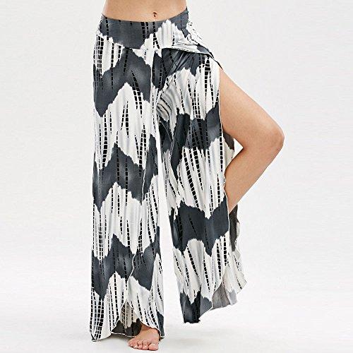Yogogo Femmes Sexy Large Jambe Jupe Stretch Pantalon VêTements Cheville-Longueur Loose Ouvrir Fourche Taille Haute Yoga Pantalon ÉTé 2Noir