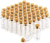 com-four® barattolo di spezie 60x con tappi di sughero, fiale di vetro mini, set di barattoli di caramelle, stoccaggio di oli, spezie, erbe o tè circa 10 ml (060 pezzi)