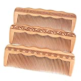 Brilcon Hair Engraved Natural Peach Wood Wooden Comb Anti-Static Combs For Makeup 6.69x2.17 Inch