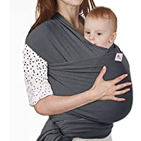 Lictin Baby Wrap-Baby Carrier Adjustable Breastfeeding Cover Cotton Sling Baby Carrier for Infants up to 35 lbs/16kg, Soft and Comfortable to Use CE Certification with Storage Bag (Dark Gray)