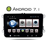 Yingly 8 Zoll Android 7.1 Autoradio für VW Polo Passat Golf Skoda Seat Leon GPS Navi mit DVD Player Multimedia Unterstützung Parkkamera Lenkradsteuerung