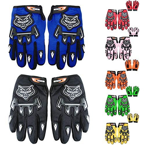 Leopard Kinder Motocross Handschuhe Schwarz (M - 6cm) Cross Motorrad Quad Off-Road für Youth
