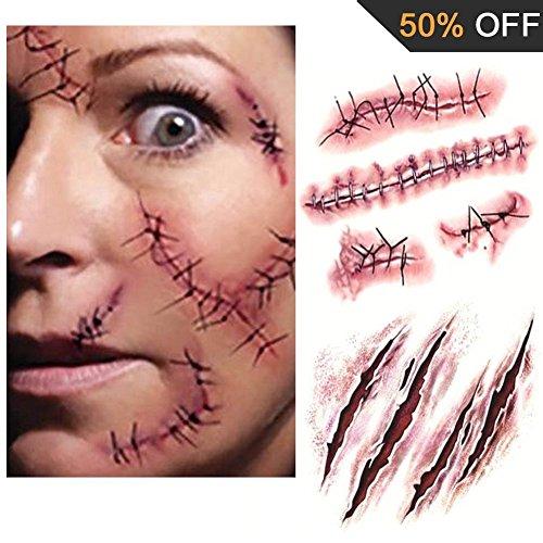 20 fogli halloween terrore tatuaggi temporanei - impermeabile zombie cicatrici ferita sanguinante sangue trucco adesivo costume speciale