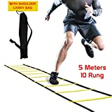 FITSY® Adjustable Speed Training Agility Ladder, 5 Meter 10-Rung with Carrying Bag
