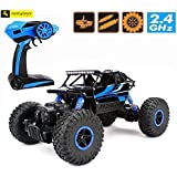 Zest 4 Toyz 2.4Ghz 1/18 RC Rock Crawler Vehicle Buggy Car 4 WD Shaft Drive High Speed Remote Control Monster Off Road Truck... (Blue)