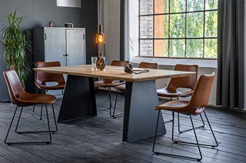 KAWOLA Esstisch Leonard Tischplatte Eiche mit Schweizer Kante Metallfuß Trapez 200x100cm