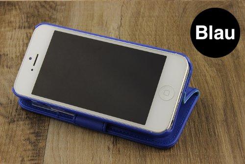 iPhone 5 / 5s / SE Étui, Urcover Housse Style Livre Coque Apple iPhone 5 / 5s / SE Case [avec Fente pour Cartes + Support] Téléphone Marron Smartphone Bleu