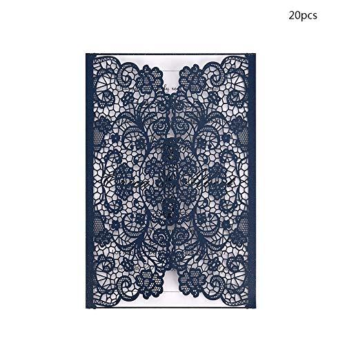Sen-Sen 20pcs Hochzeit Geburtstagsfeiern Einladungen Card Kit mit D118 Inner Papers - Navy Blue