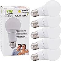 Lumaro LED Glühbirne 5er | E27 7W | Ersetzt 60w Lampe | 600 Lumen | 2700 Kelvin | A60 Leuchtmittel | warmweiss