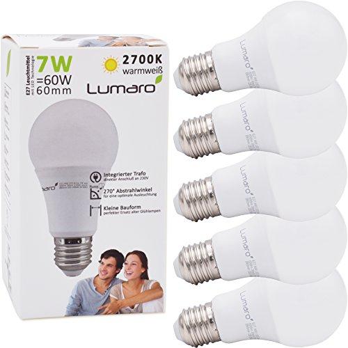 Lumaro LED Lampe | 5er E27 7W | Ersetzt 60w Watt Glühbirne | 600 Lumen | A60 Leuchtmittel | 2700 Kelvin warmweiß Fassung