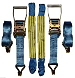 2 x 4mtr Blue Recovery Trailer Ratchet Strap Standard Handles 18' Soft Ring