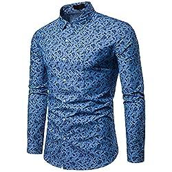 IYFBXl Camisa de algodón de tamaño asiático para Hombre - Cuello de Camisa de Lunares, Azul Claro, XXL