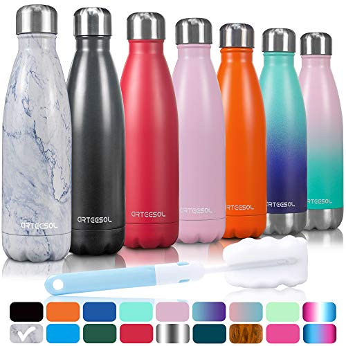 arteesol Trinkflasche, 350/500/750 ml Edelstahl Wasserflasche Doppelwandig Vakuumisoliert Water Bottle Schmaler Mund & BPA-frei für Outdoor-Sport Fitness Workout Camp & Office.(Marmor, 750ML)