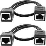 sourcingmap® 2pcs 30cm 1ft Ethernet Lan Female to Female Network Cable RJ45 Extension Cord