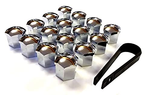 XtremeAuto® Selection Of Chrome And Black Wheel Nuts And Covers M12 X 1.5 (Chrome Nut Covers)
