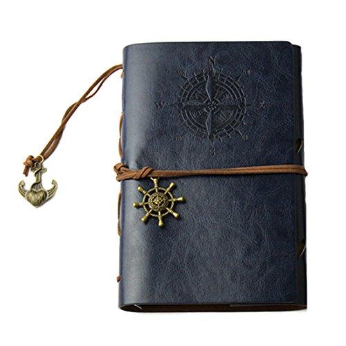 Partiss Retro Skizzenblock Tagebuch Notizbuch Softcover Kraftpapier Blanko Geschenkbucher Reisetagebuch,M,darkblue