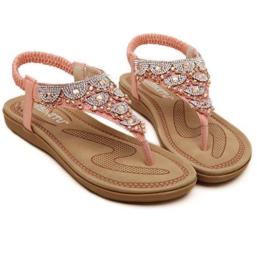 Fortuning's JDS Il nuovo arrivo dolce infradito scintillanti sandali piani per le donne e le ragazze Rosa