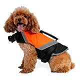 Petacc Cane Giubbotto di Aalvataggio Gilet di Aicurezza per Cani Impermeabile Regolabile Gilet di Nuoto per Cani Regolabile con Cinghia Riflettente, Arancione (M)