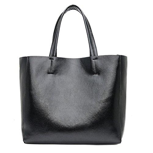 Diagonale Metallschultertasche der Frauen - Strand-Taschen-Stadt-PU-Handtaschen-Goldsilber Größe: 32 * 14 * 29CM Feiertag (Farbe : Black, größe : 32 * 14 * 29cm)