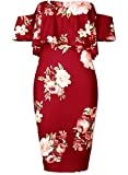 Creti Sexy Women Floral Off Shoulder Ruffles Plain Stretch Bodycon Midi Dress