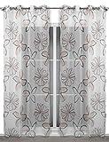 Leichter Ösenschal 135x245 cm transparente Gardine Blumenmotiv