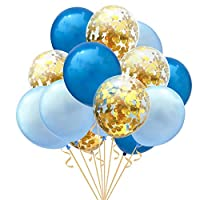 15Pcs 12inch Clear Latex Ballons and Golden Sequins Confetti Ballon Wedding Decoration Happy Birthday balloons Party Supplies, Blue & Golden
