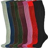 MySocks Unisex kniehohe lange Socken gerippt 8 Paares