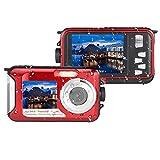 Marvie HDV-801 Unterwasser -Stoß- Digitale 24MP Kamera & Camcorder Doppelbildschirme Dual-Vollfarb -LCD-FHD Zeigt 1080p Frei-Gehäuse Selbstauslöser Foto Video Recorder (rot)