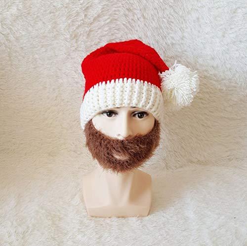 Oudan Weihnachtsmütze Herbst und Winter Western Halloween Hut häkeln bärtigen Hut Reine handgeflochtene Linie Hut (Farbe : A, Größe : Adult one Size)