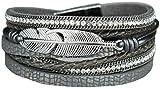 Mevina Damen Armband Glitzer Strass Steine Feder geflochten Wickelarmband Magnetverschluss Shamballa Glitzerarmband Luxus Grey A1297